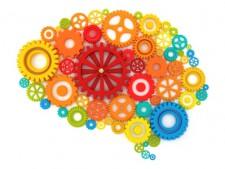 silueta de cerebro de engranajes multicolor
