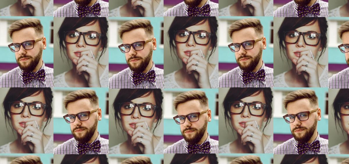 secuencia de fotos de tamaño carnet de una chica hipster y un chico hipster