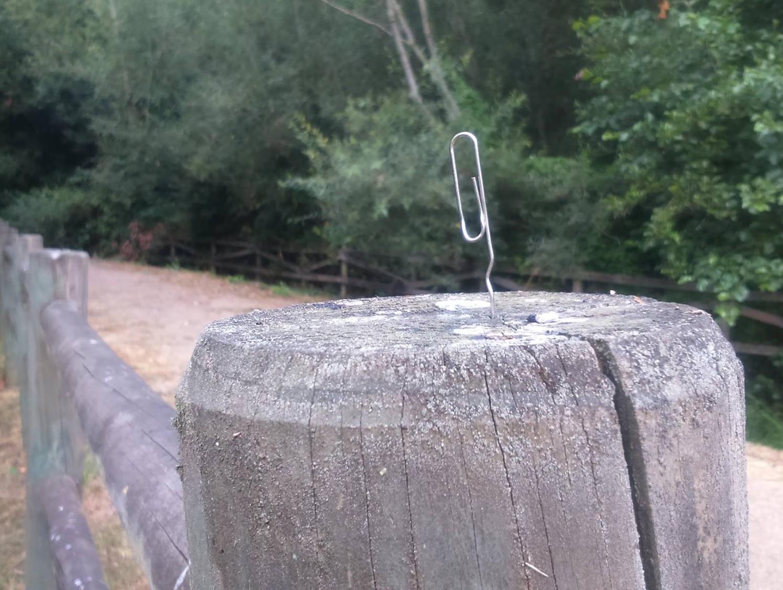 un clip pinchado en una valla